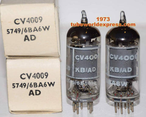 (BEST OVERALL PAIR) CV4009=6BA6W=5749 Brimar NOS 1973 (11.2ma and 11.4ma)