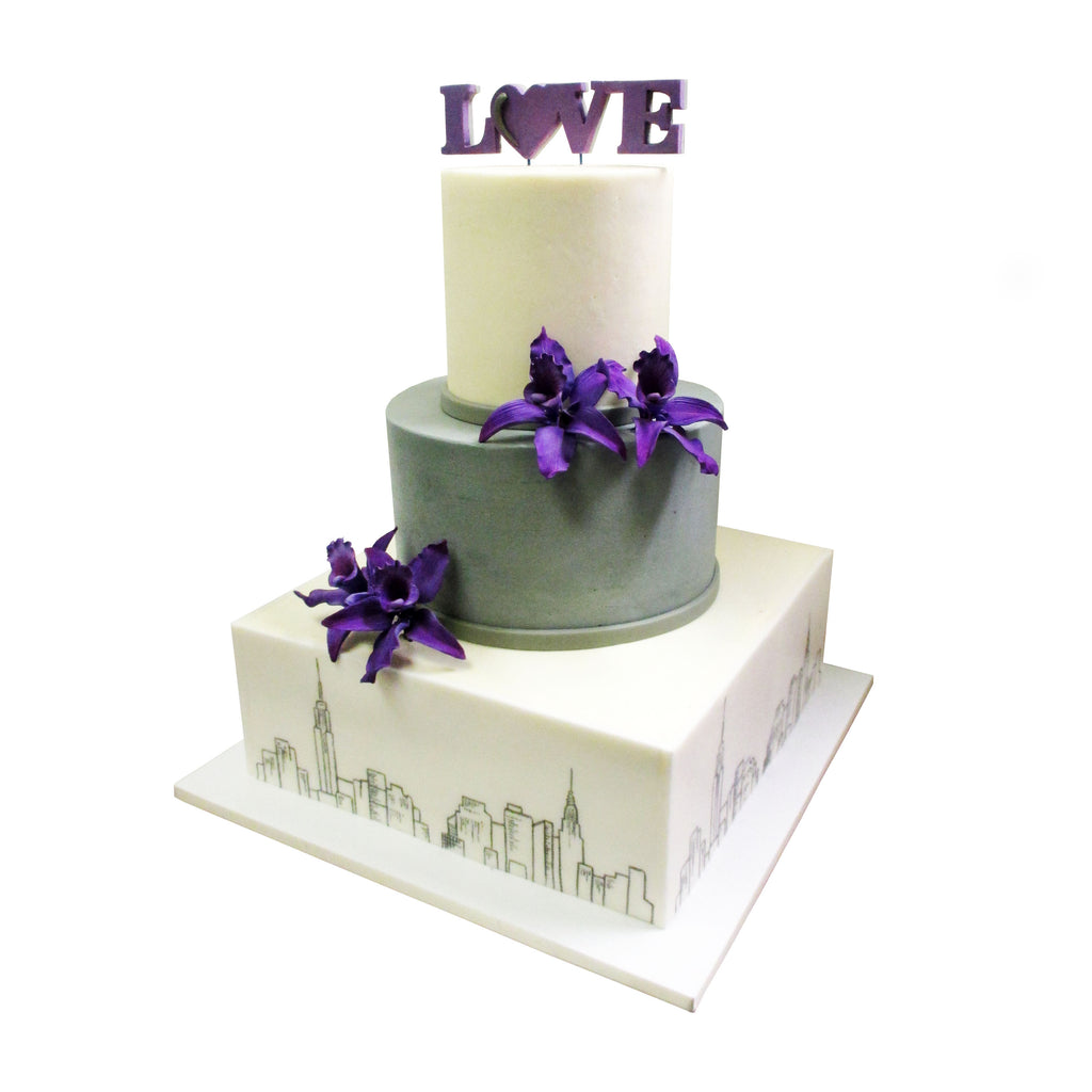 Orchids and Skyline Sketch Love Cake