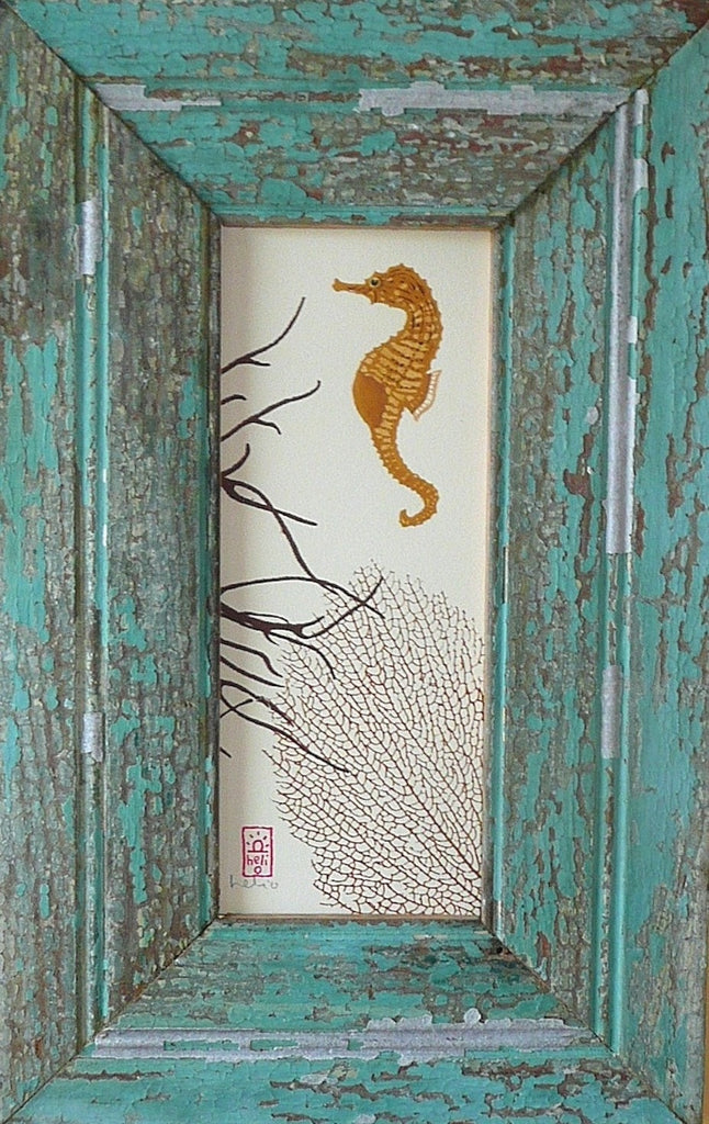 Sea Horse and Brown Corals Wood Framed Print
