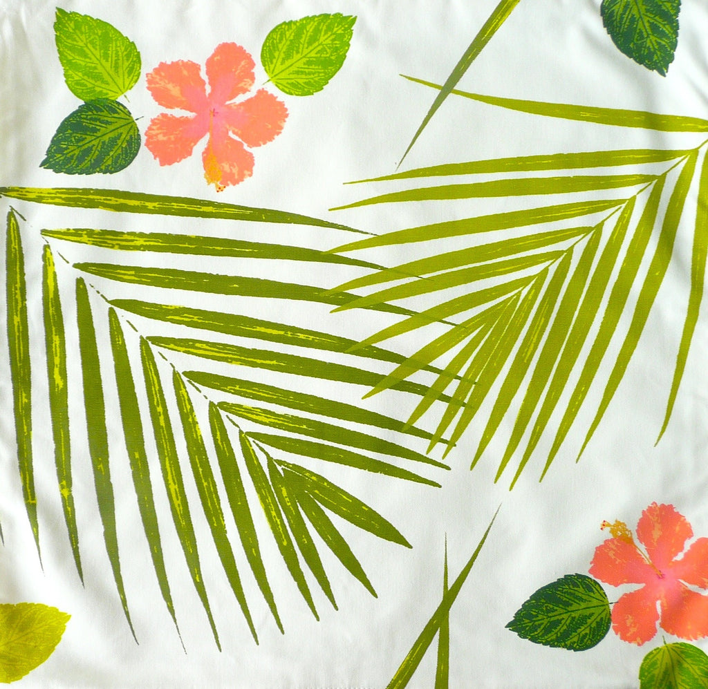 Coral Hibiscus Blossoms and Palms Pillow Cover