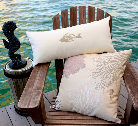 Key West Coral Reef Pillow Covers: Antique Purple, Sand, Stone, and White Marine Design Series