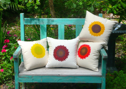 Sunflower Pillows with Fibonacci Spiral Centers