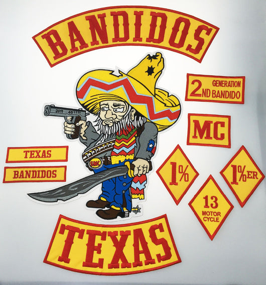 BANDIDOS TEXAS MC PATCH SET MOTORCYCLE KACKET VEST IRON ON-ASTROSHADEZ.COM-ASTROSHADEZ.COM
