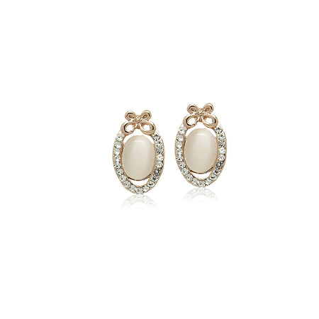 Cubic Zirconia Stud with Chain Drop Earrings