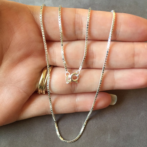 "16"" Sterling Silver Box Chain Necklace"
