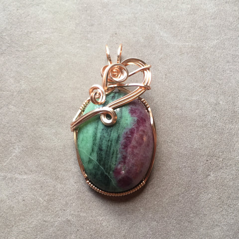 Ruby in Zoisite Wire Wrapped 14K Rose Gold Filled Pendant