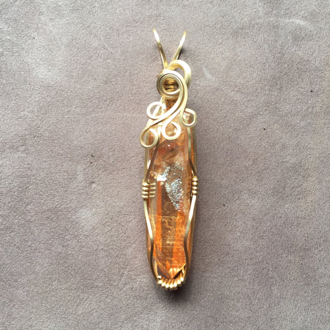 Sunshine Aura Tangerine Aura Quartz Crystal 14K Gold Filled Wire Wrapped Pendant