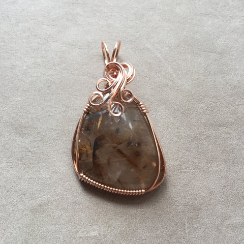 Rutilated Quartz Wire Wrapped 14K Rose Gold Filled Pendant