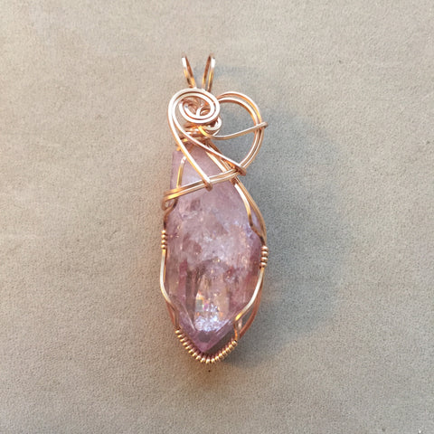 Pink Rose Aura Quartz Crystal 14K Rose Gold Filled Wire Pendant