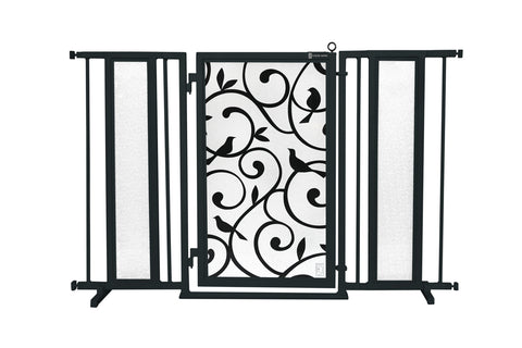"52"" - 60"" Chevron Trail in White Fusion Gate, Satin Nickel Finish"