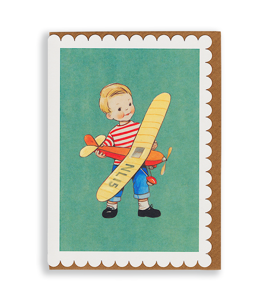 Mabel Lucie Attwell Off to fly! Plane greetings card