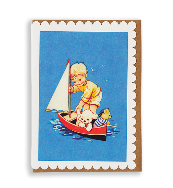 Mabel Lucie Attwell Out to sea! Toy boat greetings card