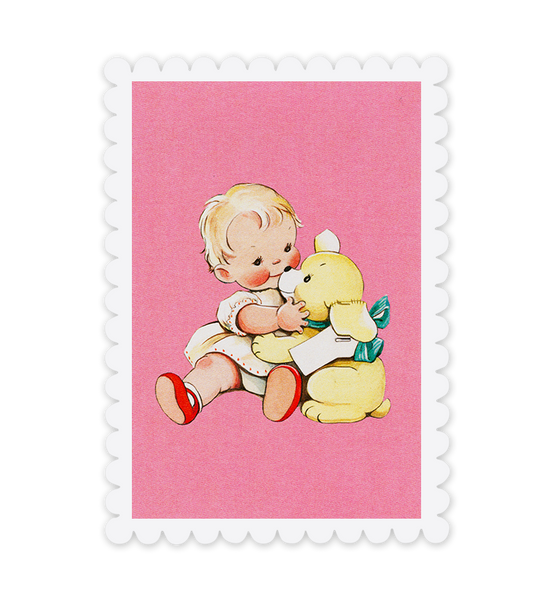 Cuddle up! Baby and Bear postcard