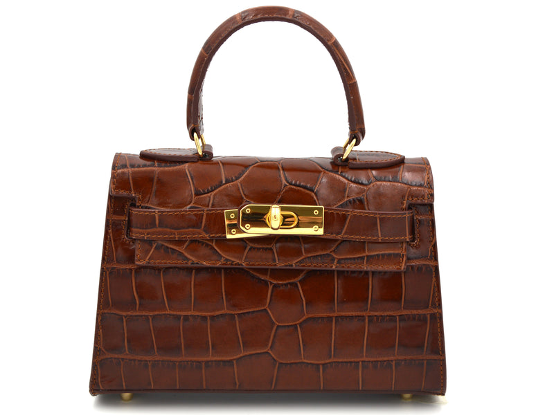 Manon Mignon 'Croc Print' Leather Handbag - Brown