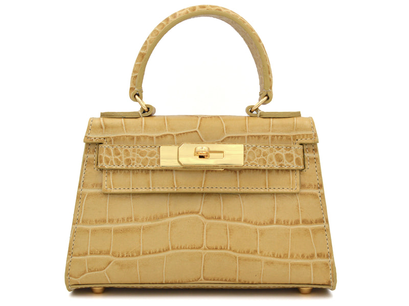 Manon Mignon 'Croc Print' Leather Handbag - Almond