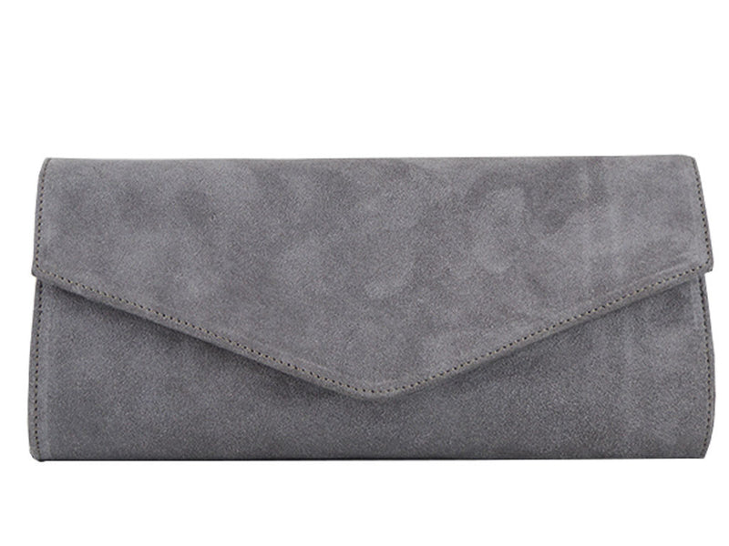 Handbag - Clutch Handbag Suede - Pale Grey