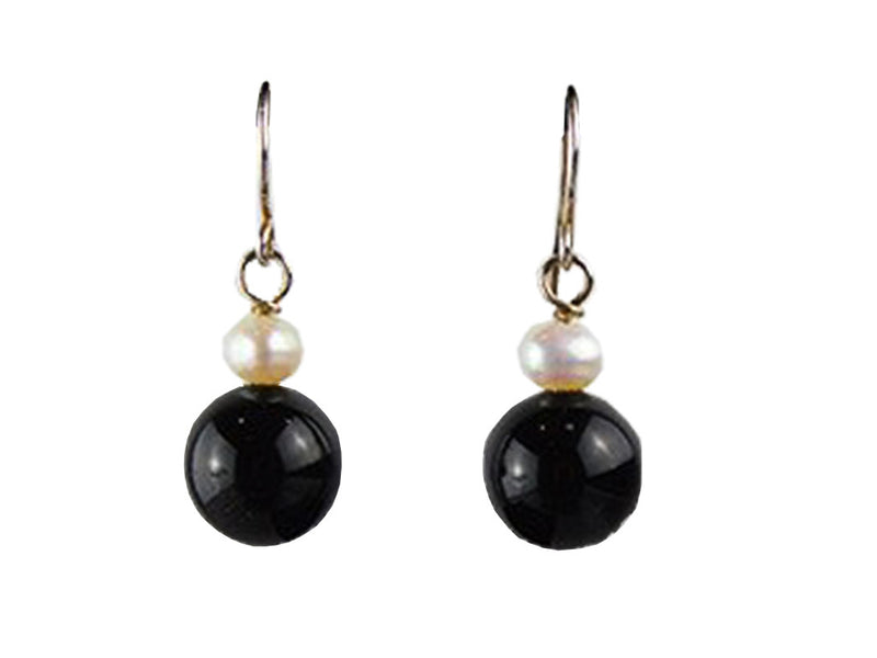 Freshwater Pearl and Jet Earrings