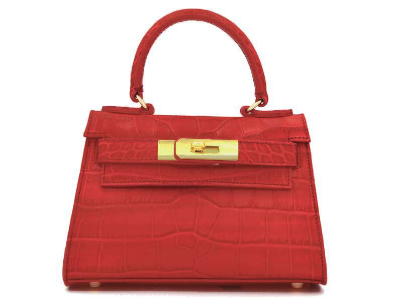 Manon Mignon 'Croc Print' Leather Handbag - Red