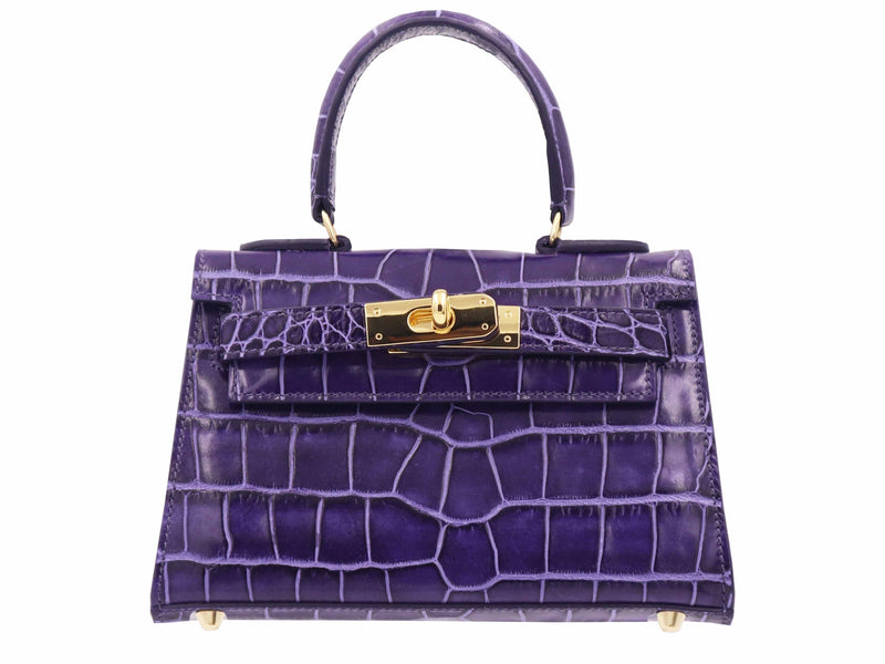 Manon Mignon 'Croc Print' Leather Handbag  - Purple
