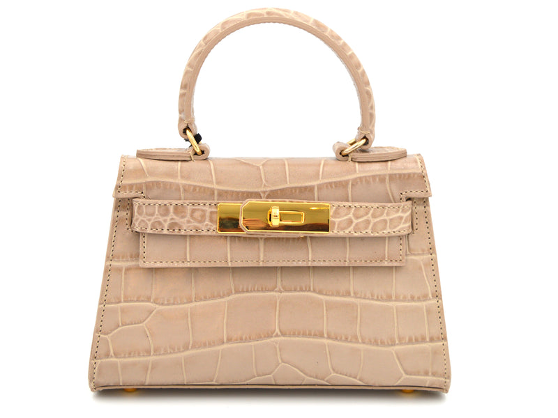 Manon Mignon 'Croc Print' Leather Handbag - Stone