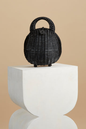 Millie Rattan Bag- Black