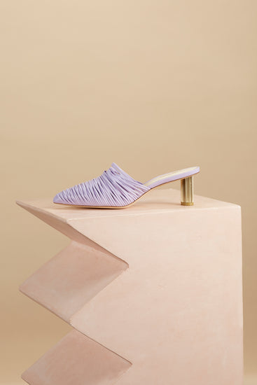 Sage Leather Mule - Lavender