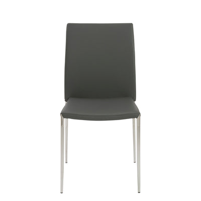 Stackable Gray Leatherette Guest or Conference Chair (Set of 4)