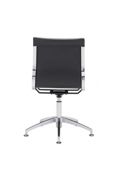 Modern Black Leather & Chrome Conference Chair