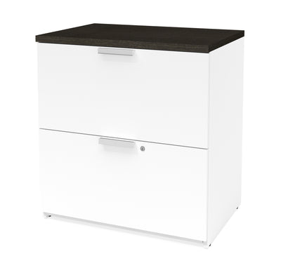 "71"" X 62"" L-shaped Desk with Hutch in White & Deep Gray Finish"