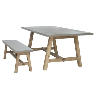 "78"" Concrete and Acacia Wood Conference Table"