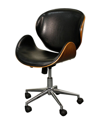 Black Leatherette and Walnut Wheeled Office Chair