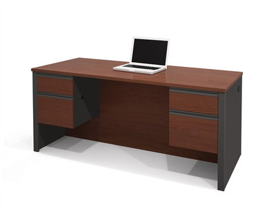 Bordeaux & Graphite Modern Executive Desk with Dual Half Pedestals