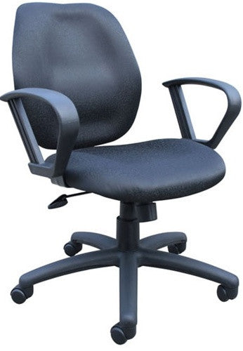 Comfortable Mid-Back Task Chair with Loop Armrests & Color Options