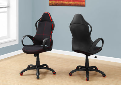 Ultra Modern Black Swivel Office Chair w/ Red Stripe