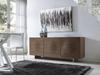 "Unique 71"" Walnut & Brushed Metal Credenza"