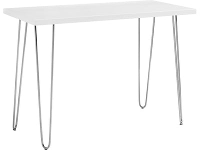 "42"" Modern Compact Hairpin Leg White Office Desk"