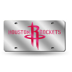 Houston Rockets Laser Cut Auto Tag Silver Style 2