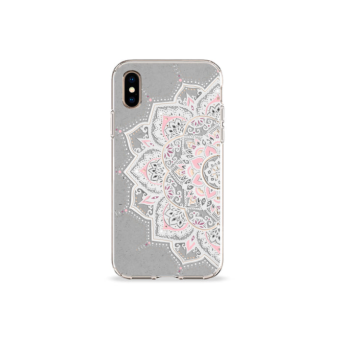 Grey and Blush Mandala Clear iPhone Case - bycsera