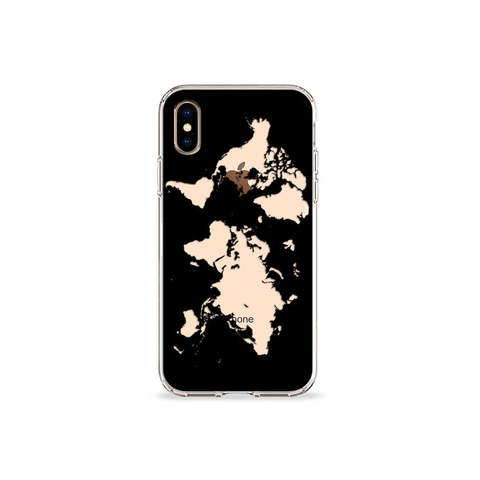 World Map in Black Clear iPhone Case - bycsera