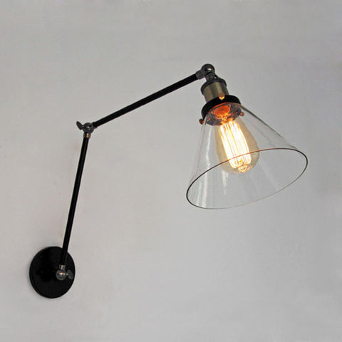 vintage industrial glass wall lamp