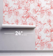 Floral Outline Removable Wallpaper-wallpaper-Eazywallz