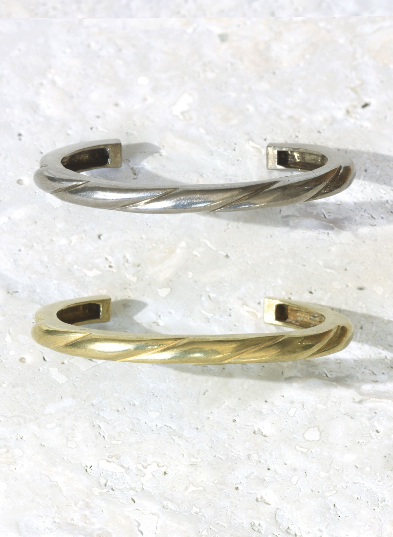 gold silver bronze ripple cuff