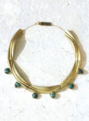 wave collar necklace malachite bronze