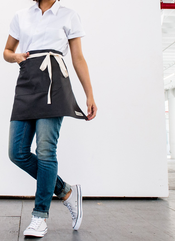 Reggie Half Apron, Briquette Canvas, Cream Straps, Jones of Boerum Hill