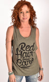Red Hair Don't Care Flowy Scoop Olive Tank Ginger Problems