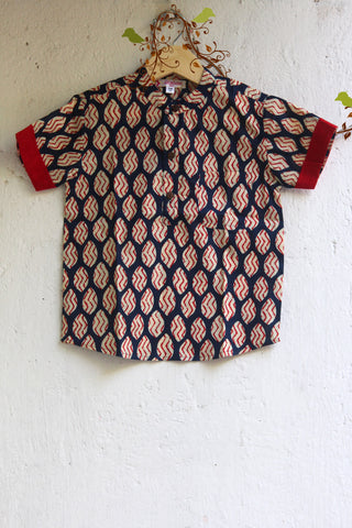 kidswear - red blue printed boys shirt
