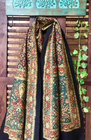 abstract ajrakh dupatta - forest green & gold drops