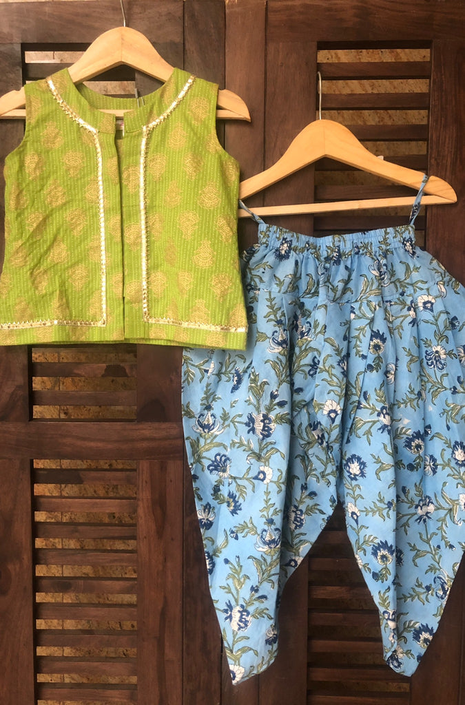 kidswear - green top with blue dhoti