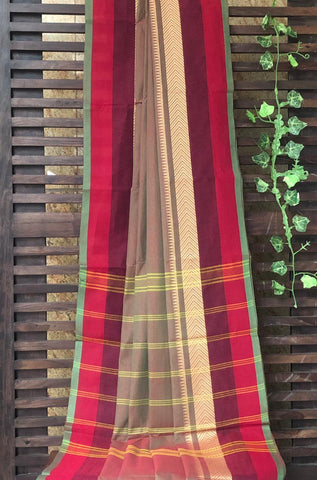 chettinad cotton saree - dhoop chaav & gold triangles