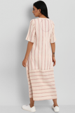 button down dress with patch pocket - kala cotton & pink stripes